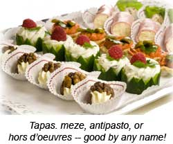 Appetizers for Canape plural