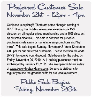 Business Change - Upcoming Sales