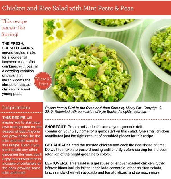 Recipe: Chicken and Rice Salad with Mint Pesto and Peas