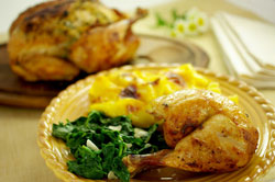 Roast Chicken with Mustard Butter