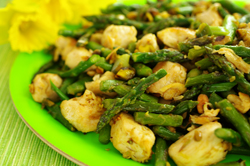 Wok Seared Chicken with Asparagus and Pistachios