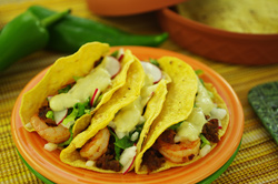 Shrimp and Chorizo Tacos with Chile Cream Sauce