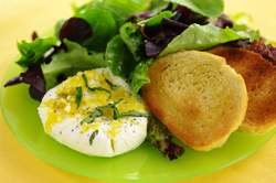 Leafy Green Salad with Lemon-Basil Goat Cheese