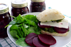 Pickled Beets and Pesto and Feta Sandwich