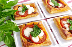 Flaky Tomato Tartlets with Mozzarella and Crackly Basil
