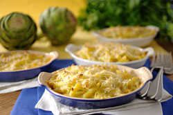 Gratin of Penne with Artichokes and Four Cheeses