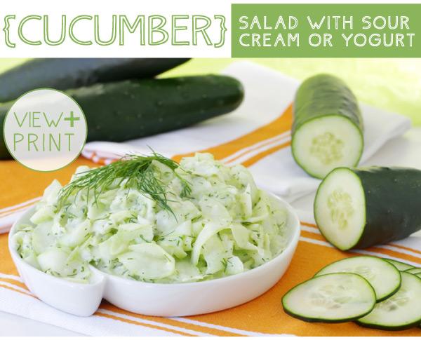 RECIPE: Cucumber Salad with Sour Cream or Yogurt