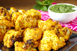 Tandoori Cauliflower with Mint Chutney
