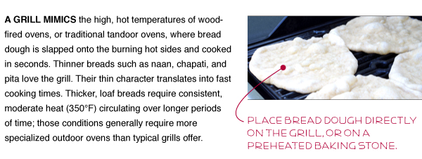 Place bread dough directly on the grill