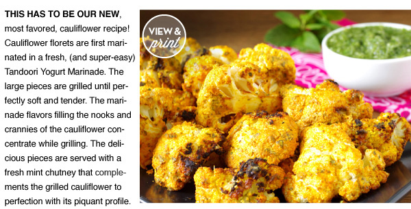 RECIPE: Tandoori Cauliflower With Mint Chutney
