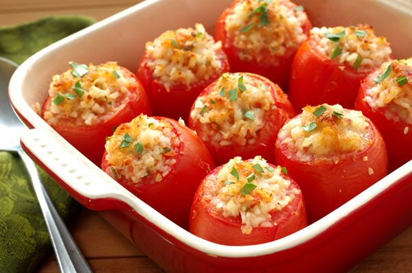 Baked Plum Tomatoes with Herbed Rice Stuffing