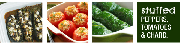 Stuffed Peppers, Tomatoes & Chard
