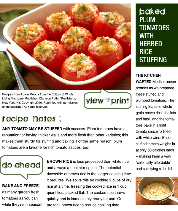RECIPE: Baked Plum Tomatoes with Herbed Rice Stuffing
