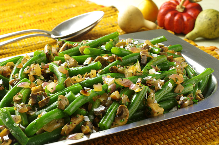 Green Beans with Caramelized Red Onion and Mushroom Topping