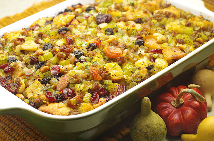 Sausage, Dried Fruit, and Nut Stuffing