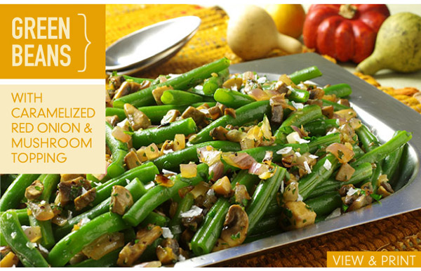RECIPE: Green Beans with Caramelized Red Onion and Mushroom Topping