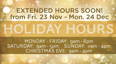 Holiday Hours Coming Soon