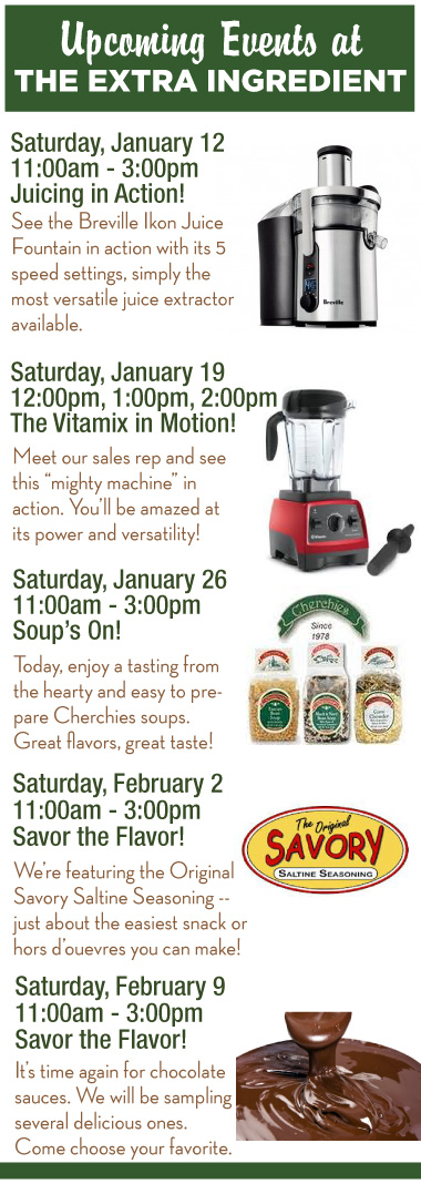 Upcoming Events at the Extra Ingredient