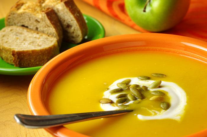 Butternut Squash & Apple Soup with Pumpkin Seeds