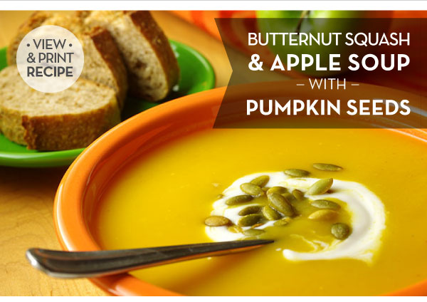RECIPE: Butternut Squash & Apple Soup with Pumpkin Seeds