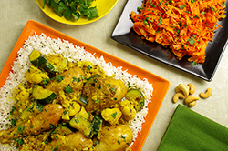 Chicken-Cashew Curry over Basmati Rice with Mustard Carrot Ribbons