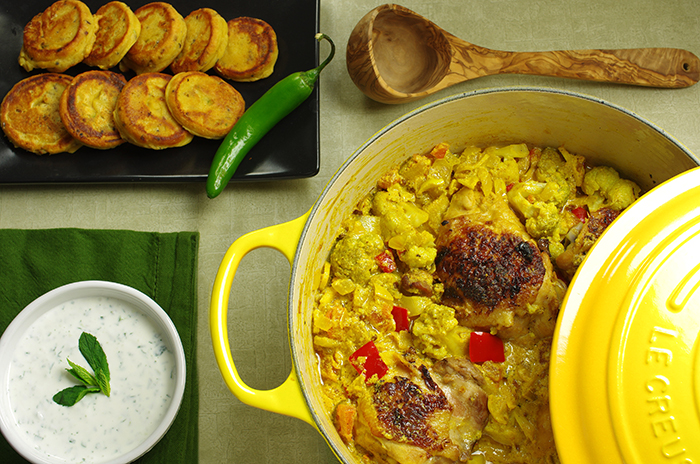 Chicken-Vegetable Kadhi with Chickpea Cakes and Yogurt-Mint Sauce