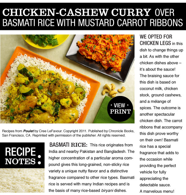 RECIPE: Chicken-Cashew Curry over Basmati Rice with Mustard Carrot Ribbons