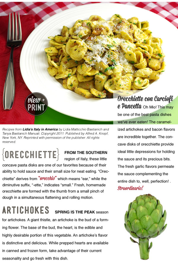 RECIPE: Orecchiette with Artichoke and Bacon