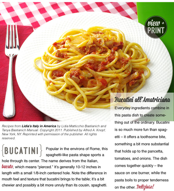 RECIPE: Bucatini with Pancetta, Tomato and Onion