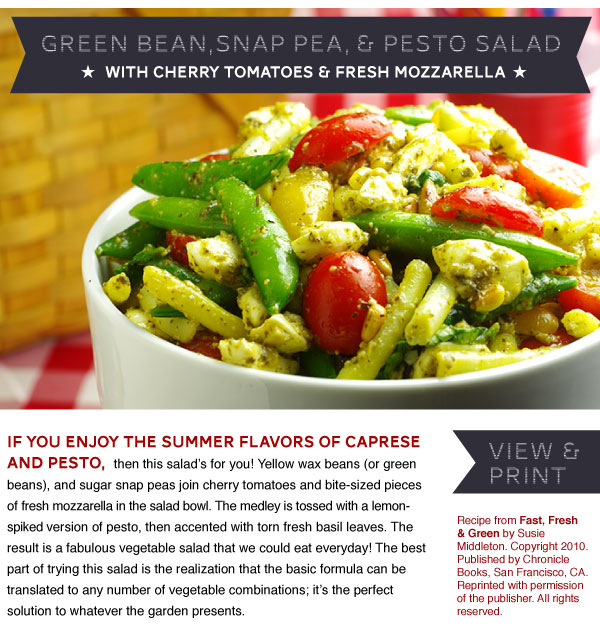 RECIPE: Green Bean, Snap Pea, and Pesto Salad with Cherry Tomatoes and Fresh Mozzarella