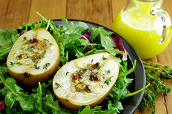 Plank-Roasted Pear Salad with Blue Cheese and Walnuts