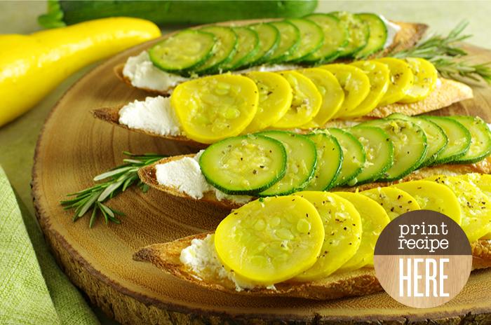 Summer Squash Tartines with Rosemary and Lemon