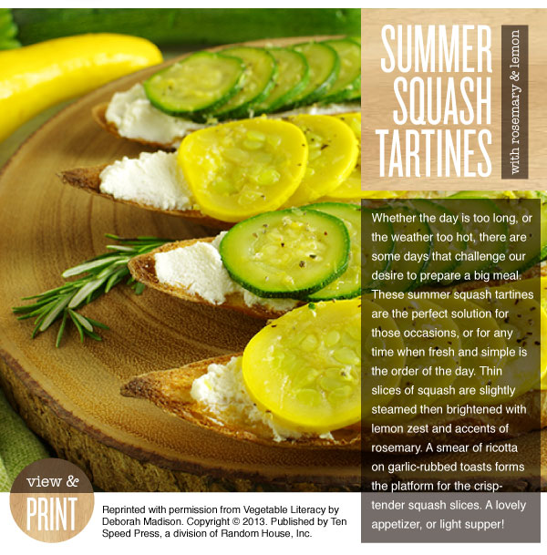 RECIPE: Summer Squash Tartines