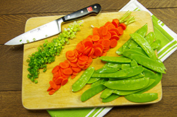 Scallions, Carrots and Snow Peas