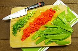 Scallions, Carrots and Snow Peas