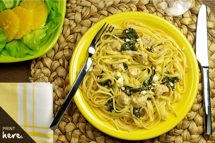 Linguine with Chicken, Spinach, and Feta Cheese
