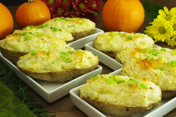 Twice-Baked Gruyere Potatoes with Lots of Green Onions