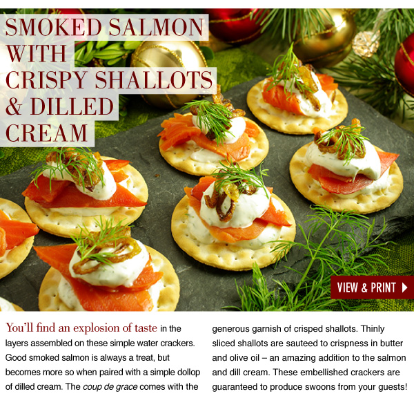 RECIPE: Smoked Salmon with Crispy Shallot and Dilled Cream