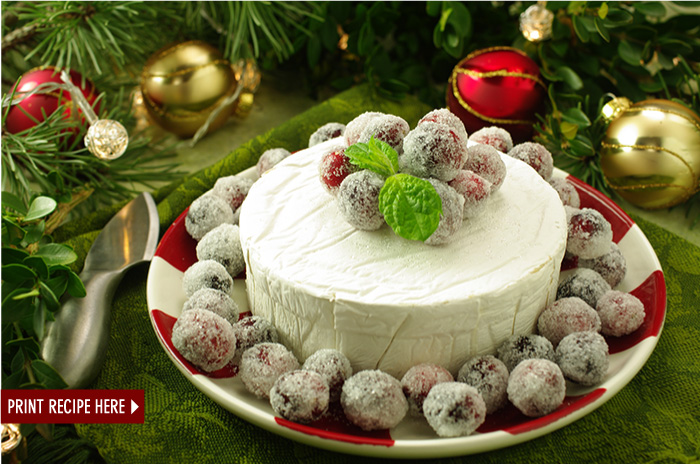 Candied Cranberries with Brie