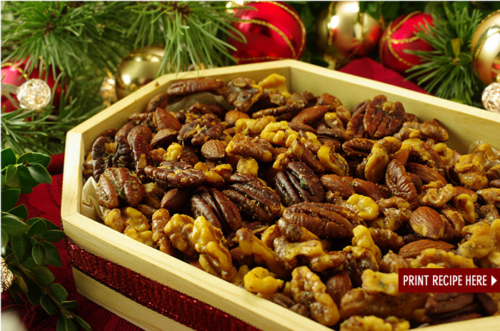 Warm Sweet and Spicy Mixed Nuts