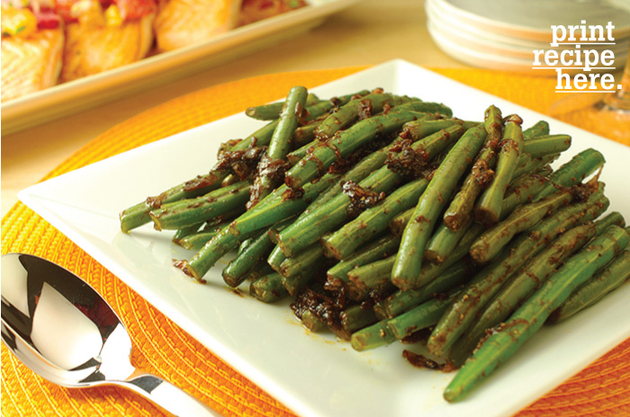 Sautéed Green Beans with Mustard-Soy Shallots