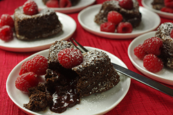 Molten Chocolate-Raspberry Cakes