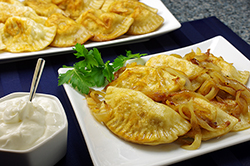 Pierogis with Potato, Cheese, Bacon, and Peas Filling