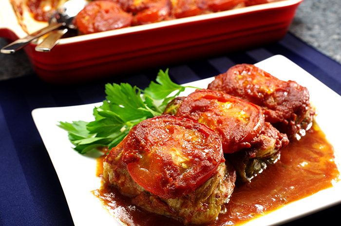 Cabbage Rolls with Wild Mushroom Stuffing in Tomato Broth