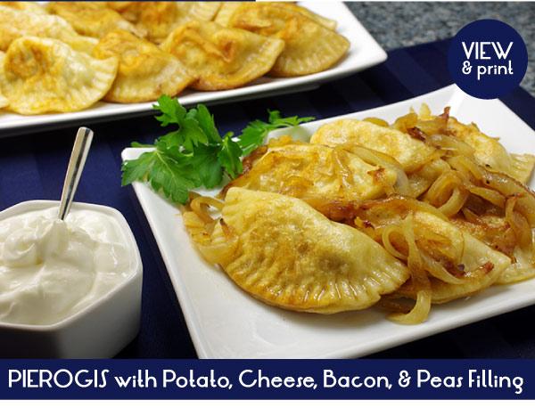 RECIPE: Pierogis with Potato, Cheese, Bacon and Peas Filling