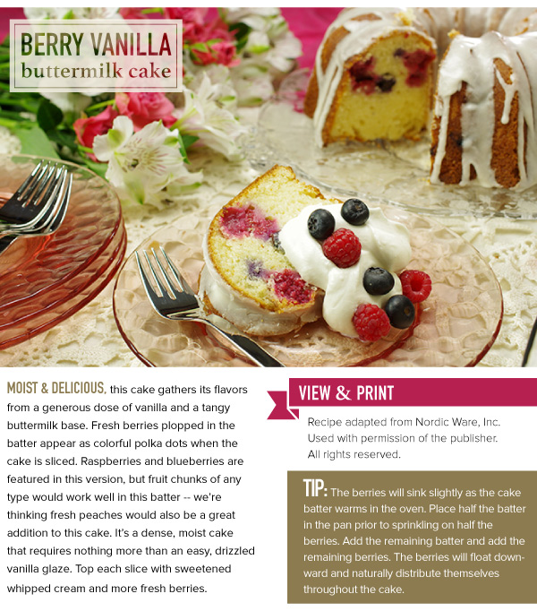 RECIPE: Berry Vanilla Buttermilk Cake