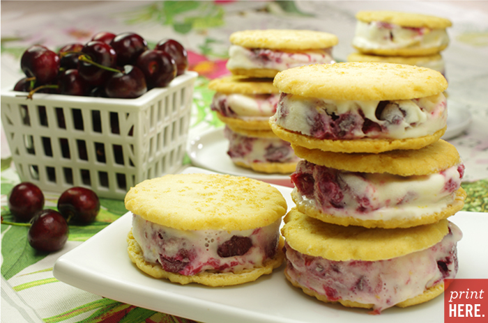 New York Cheesecake Cherry Cheesecake Ice Cream on Shortcrust Cookies