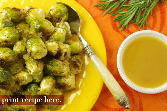 Brussels Sprouts with Toasted Walnuts and Apple Cider-Chile Butter Sauce