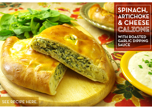 RECIPE: Spinach, Artichoke and Cheese Calzone