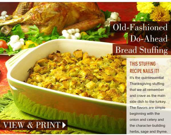 RECIPE: Old-Fashioned Do-Ahead Bread Stuffing